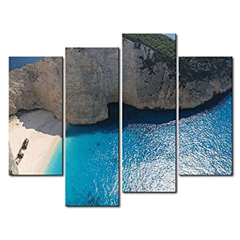Leinwanddruck Bild für Home Decor Navagio Bay Small Beach Mountain 4Stück Gemälde Moderne Giclée-gespannt und gerahmt Artwork Öl der Seascape Bilder Foto Prints auf Leinwand