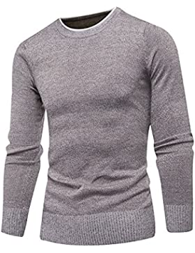 HY-Sweater Otoño Mode Casual Slim Crew Neck Jersey Hombres, Caqui, XX-Large