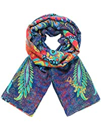 Desigual Women's Foulard_rectangle Atenas Scarf, Blue (Navy 5000), One Size (Manufacturer Size: U)
