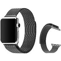 Per Apple Watch - Cinturino Trop Saint® - Maglia Milanese (42mm) con Magnete di Blocco - Nero - Cinghia Orologio Bracciale a maglie in Acciaio Inossidabile, iWatch Wristband Strap