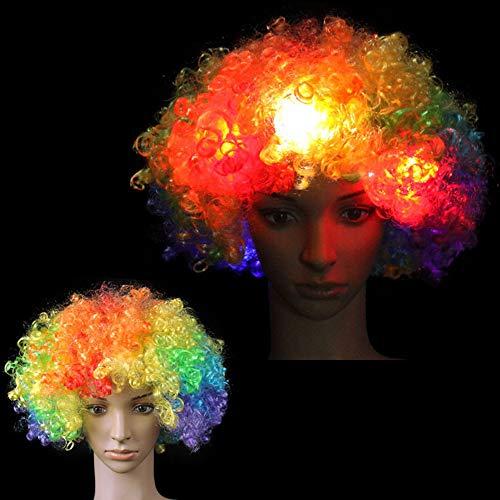 JEOHMMA LED-Beleuchtung Perücke, Weihnachts-Kostüm, gelockt, Zirkus, Afro-Clown-Perücke für -