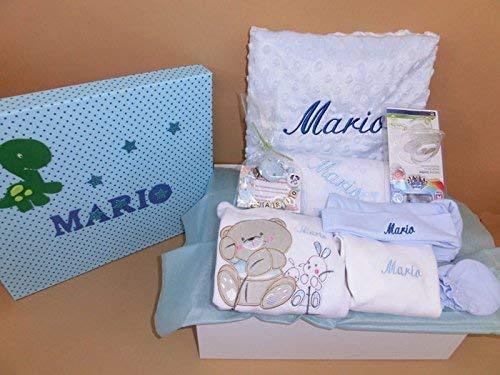 Set Regalo Bebé – Canastilla personalizada hospital para niña o niño, el regalo perfecto para recién nacido. Manta, capa de baño, doudou y mucho mas.