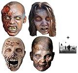 The Walking Dead Zombies Masque en carton de 2D Packung von 4 - Comprend une photo étoile (15x10cm)