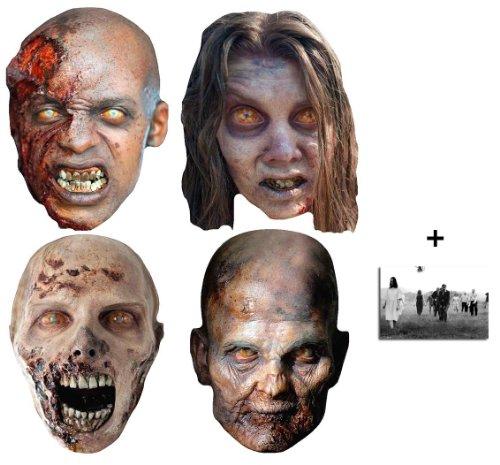 The Walking Dead Zombies Karte Partei Gesichtsmasken (Maske) Packung von 4 - Enthält 6X4 (15X10Cm) starfoto