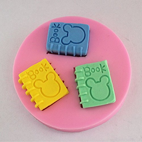 Longzang Book Art Deco Silicone Mold Sugar Craft DIY Gumpaste Cake Decorating Clay Pink