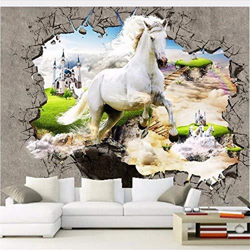 Qwerlp Weißes Pferd Gebrochene Wand Fototapeten 3D Moderne Interior Home Decor Tapete Stereo Geprägte Vlies 3D Wandmalerei-130Cmx98Cm