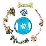 Pecute Giochi per Cani in Cotone 6 Pezzi per Divertimento ed Addestramento Giochi per Pulire Denti Cani Adatti per Cani Piccoli e Medi