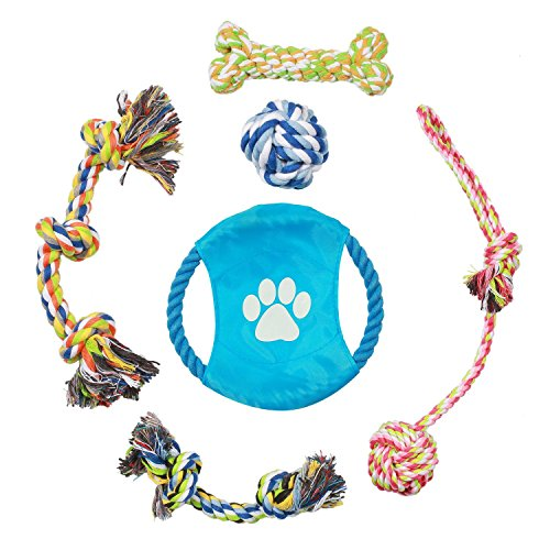 Pecute Dog Rope Toys Puppy Pet Chew Toys Set Durable Cotton Braided for Small and Medium Dogs Teeth Clean Training – 6 Pack