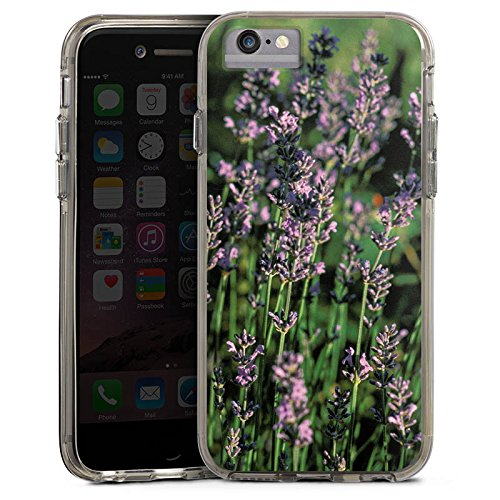 Apple iPhone 6 Plus Bumper Hülle Bumper Case Glitzer Hülle Lavendel Flowers Blumen Bumper Case transparent grau
