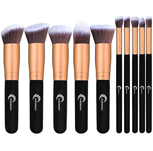 CHEREEKI Kit De Pinceau Maquillage Professionnel 10 PCS Brush Cosmétique Beauté Make-up Eyebrow Shadow Blush Fond De Teint Anti-Cerne avec le Sac de Voyage