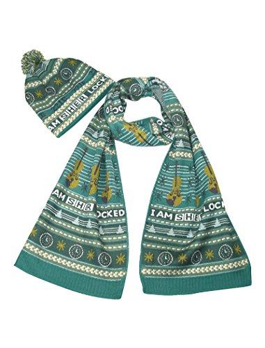 LOVARZI Sherlock Schal und Mütze Weihnachten Set - Offiziell BBC lizensiertes Geschenk - Benedict Cumberbatch Sherlock Kostüm
