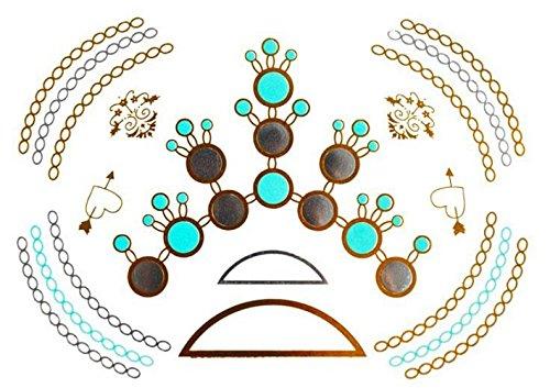 YS-29 - (MODELLO 77) 100 MODELLI A SCELTA DI FLASH TATOO METALLO GOLD ORO ADESIVI TEMPORANEI CORPO STICKERS BRACCIALETTI BIJOUX - METAL TATTOO ADESIVO FOGLIO - METALLICI METALLICO