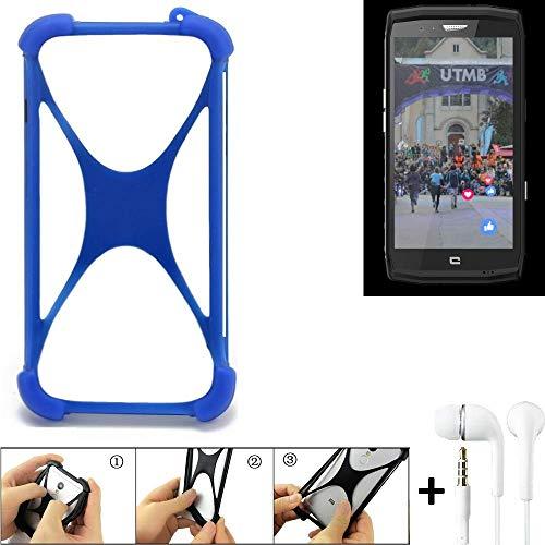 K-S-Trade Bumper kompatibel mit Crosscall Trekker X4 Schutzhülle Handyhülle Silikon Schutz Hülle Cover Case Silikoncase Silikonbumper TPU Softcase Smartphone, Blau (1x), Headphones