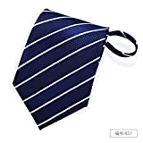 GENTLEE TIE Tie men's dress zip-lazy people to pull shirts business suits young business 8CM, dark blue stripes