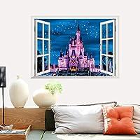 Zooarts 3d ventana paisaje Castillo Brilliant Star extraíble adhesivo de pared vinilo adhesivos decoración mural