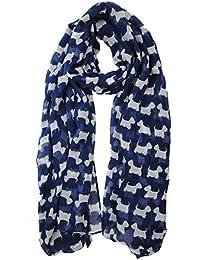 Blue Scottie Westie Highland Terrier Animal Dog Scarf Ladies Fashion Scarves