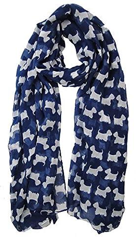 Bleu Scottish Highland Terrier Westie chien pour écharpe Fashion Écharpe avec cœur Cadeau