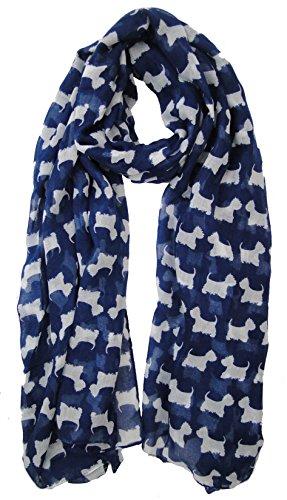 Azul Scottie Westie Highland Terrier Animal Perro Bufanda Ladies Fashion bufandas