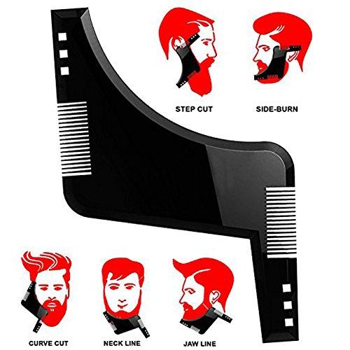 Diseño y plantilla de modelado de barba - Peine de recorte flexible Herramienta de afeitado de barba para alineación y corte - Un tamaño para todos (Negro)