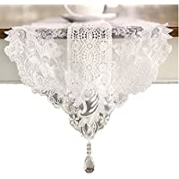 Ethomes White lace embroidered table runner with pendant 250cm
