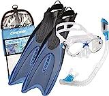 Cressi Palau Kid Bag Set Snorkeling Pinne, Maschera e Snorkel, Bambino, Blu/Azzurro, 29/32