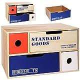 alles-meine GmbH Aufbewahrungsbox / Schubladenbox / Kommode / Holzbox -  Cargo - Shabby Chic / Nostalgie - lang  - mit 4 Schubladen - Schubfächern - aus Holz - Vintage Holzk..