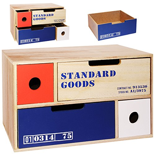 alles-meine.de GmbH 3 Stück _ Aufbewahrungsboxen / Schubladenboxen / Kommoden / Holzboxen -  Cargo - Shabby Chic / Nostalgie - lang  - mit 4 Schubladen - Schubfächern -