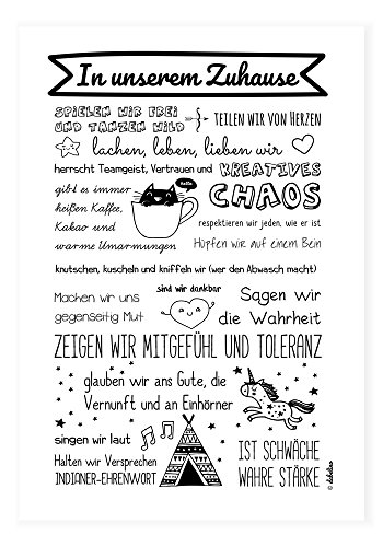 Poster für Kinderzimmer: Unser Zuhause/Familie: Spruch (DIN A3, schwarz-weiß, Familienregeln, Einhorn)