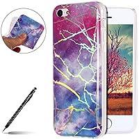 Uposao Marbre Schutzhülle für iPhone 5C, Silikon, Marmor-Motiv, Glitter