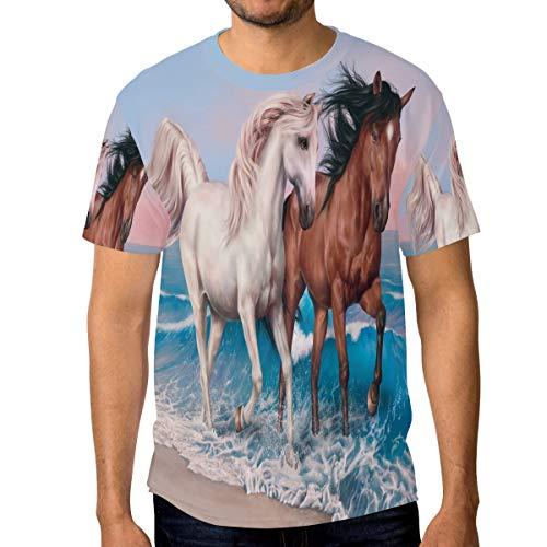 T-Shirt für Männer Jungen Ocean Sea Horse Paar Walking Benutzerdefinierte Kurzarm (Ocean Tröster Set Königin)