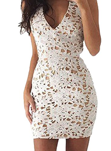 Azbro Women's V Neck Sleeveless Lace Bodycon Mini Dress Kaki