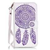 JGNTJLS Samsung Galaxy S6 Embossing Crystal Pure-Colorful Leather Case[Free Tempered Glass Screen Protector], With Hand Wrist Strap, Embossing-Stripes, Shining-Crystal Stick-up, Pure-Colorful Design, Flip PU Leather Wallet Card Slot Stand Case Cover For Samsung Galaxy S6 5.1' Inch (White,Purple,Campanula,Flower)