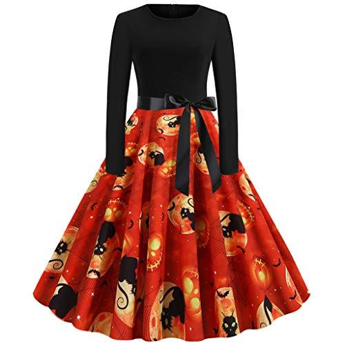 Halloween-Kostüm Kleider Kürbis Bedruckt 50er Jahre Hepburn Retro Kleid Swing Kleid Frauen Langarm Party Kleid für Halloween Party Damen Vintage Mode Abendkleid Gr. XX-Large, - Rosa 50er Jahre Kleid Kostüm
