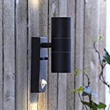Biard Le Mans Round IP44 Double Up Down Outdoor Wall Light with with PIR Motion Sensor - Black Finish - GU10 Garden Lamp Waterproof Lamp