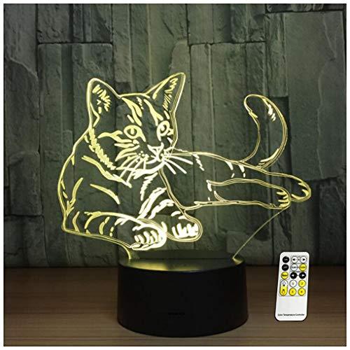 Katze Nachtlicht für Kinder 3D Illusion Nachtlicht-7 Farben USB-angetriebene Dekorlampe mit Touch/Fernbedienung für Mädchen Jungen Weihnachten Halloween Geburtstagsgeschenk,Remote