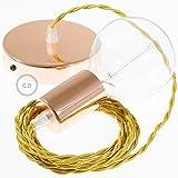 Creative-Cables Lampe Suspension câble Textile Effet Soie Or TM05-1 Mètres, Cuivre, Kit Bricolage, Non