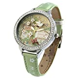 Handmade Girl\s Leather Wrist Watches for Women 3D Polymer Clay Spring Flying Bird Green Relogio