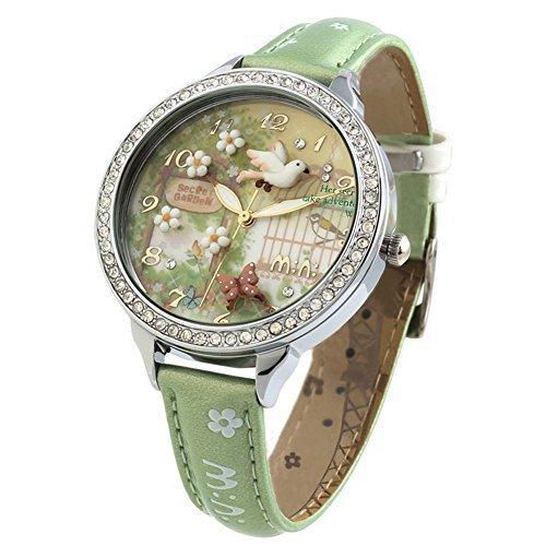 DREAMING Q&P Damen Analog Quarz Uhren mit Grün Echt Leder Armband und Edelstahl Frühling Garten Design WD291 -