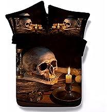 Modisch Gothic Schädel Motiv Duvet Quilt Cover & Kissenbezug Bettwäsche Set (220X240cm, Schädel-Kerze)