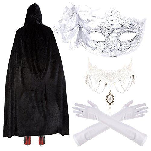 (Damen / Mädchen Deluxe Masquerade Halloween Kostüm - Spitze Maske, Ellenbogen Handschuhe, Umhang & Halskette - Weiß)