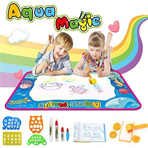 Ounuo Wasser Doodle Matte Aqua Doodle 100*70cm Zaubertafel Malmatte Wasser, mit 1 Malerroller, 4 Zeichenformen, 4 Stifte, 3 Stempel, 2 Schwamm, 1 Bilderbuch, Wasser Zeichnen Matte Drawing Painting Mat
