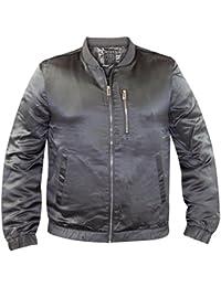 Mens Shiny Bomber Jacket Grey XS