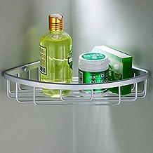 Joyoldelf Single Corner Shower Caddy Storage Shelf Basket Rack Bathroom Organiser, Space Aluminium Series