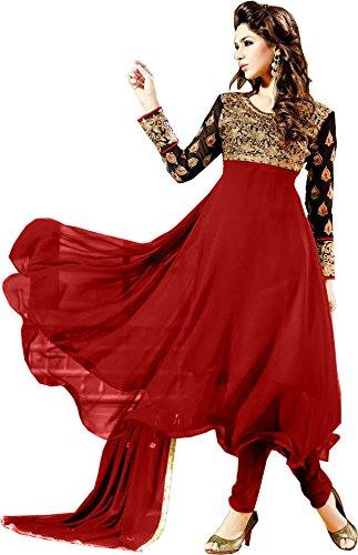 Styles Closet Women Georgette Anarkali Suit (Bnd-H002 _Red _Free Size)