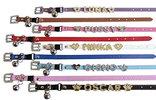 Sicherheits-Katzen-Halsband mit Strass-Buchstaben Namen Gold Silber Glöckchen XS Lila
