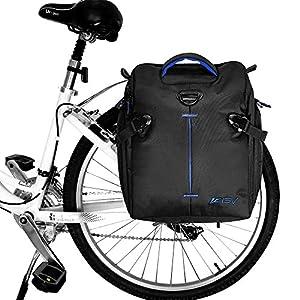 BV Bicicleta-Alforjas para Bicicleta con Correas de Hombro Desmontable y Lluvia Covers (par), grande/14L, Negro
