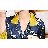 YTNGA Pijamas De Mujer Ropa de casa para Mujer Pijamas para Mujeres Pijamas de Dos Piezas con Cuello en V Ropa de Dormir Ropa de casa Trajes, Azul Marino, M
