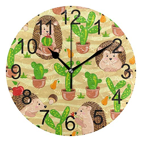 Xukmefat Cute Hedgehog Green Cactus Round Acrylic Wall Clock Non Ticking Silent Clocks for Home Decor Living Room Kitchen -