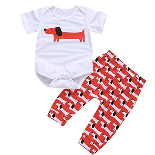 Yahoo Kinder Kurzarm Cartoon Lange Eared Kleiner Hund Ganzkörper-Print Set Neugeborene Kinder Baby Mädchen Jungen Cartoon Print Strampler Bodysuit Hose 2PC Outfit