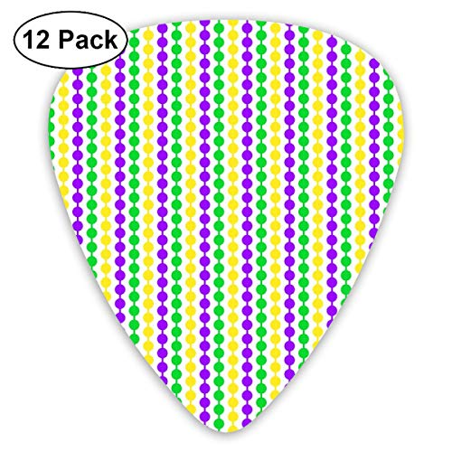 Quarter Inch Mardi Gras Beads On White Classic Celluloid Picks, 12-Pack, For Electric Guitar, Acoustic Guitar, Mandolin, And Bass